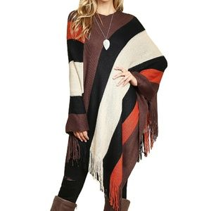 Sweaters - 💜new💜 Multi Color Knit Fringe Poncho